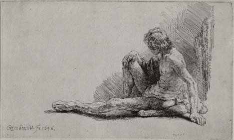 Rembrandt, Nude Man Seated