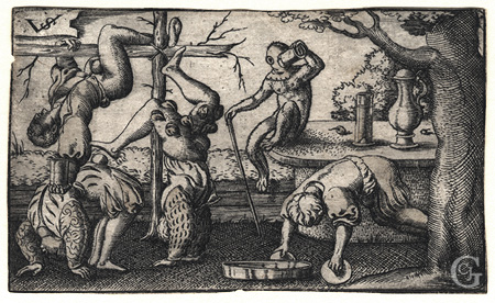 Solis, Four Acrobats and a Monkey