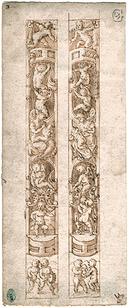 Anonymous Italian, Designs for Relief Pilasters