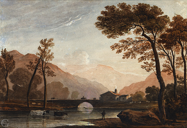 Varley, Fisherman by a River with a Stone Bridge