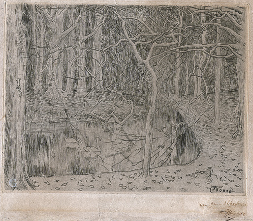 Toorop, Forest with Pond and Swans