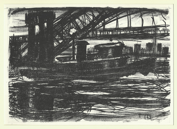 NEW YORK: Torre-Bueno, Tug Boat by the Hell Gate Bridge