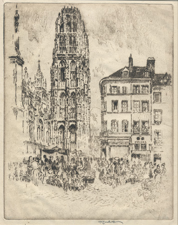 ROUEN: Pennell, The Flower Market and the Butter Tower
