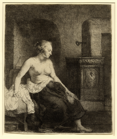 Rembrandt, Woman Sitting Half-Dressed Beside a Stove