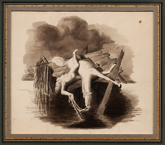 Anonymous American, A Naked Man and Horse