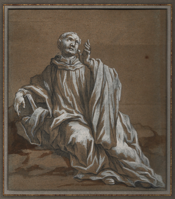 Bolognese 17th Century, Robed, Seated Male Figure